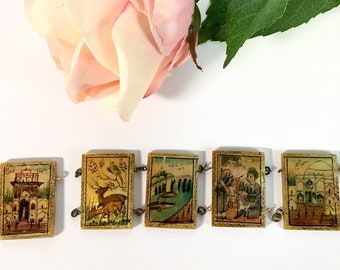 Antique Mother-of-Pearl Panels from Panel Bracelet - 5 Storyteller Bracelet Panels For Jewelry Making - Vintage Hand painted Tiles Persian