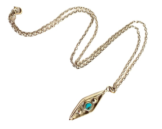 Vintage Sterling Silver & Turquoise Pendant on Box Link Chain Marked NAPIER - Unique Cylindrical Retro Necklace - Retro Jewelry Circa 1970s