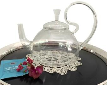Easy Exotic Glass Teapot by Padme Lakshmi - Easy Exotic Clear Glass Tea pot w/ Large Unique Handle - Kitchen Dining Serving
