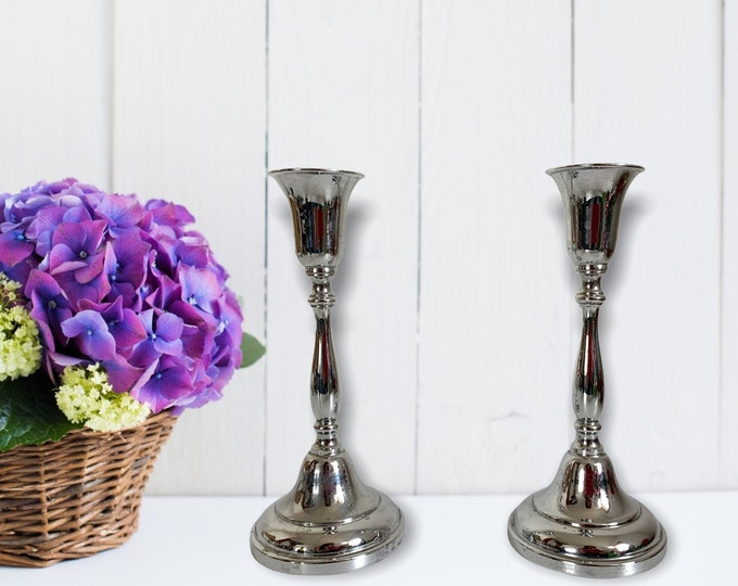 2 Vintage Farber Brothers Krome Kraft Candlestick Holders - Pair Tall Silver Metal Retro Home Decor Chrome Kitchen Dining Room Classic Style