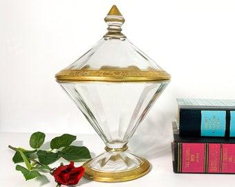 Vintage Gold Encrusted Trimmed Glass Lidded Jar - Optic Sides w/ Gold Fruit Grape Pear Apple Pattern Unique Shape Retro Pedestal Candy Jar