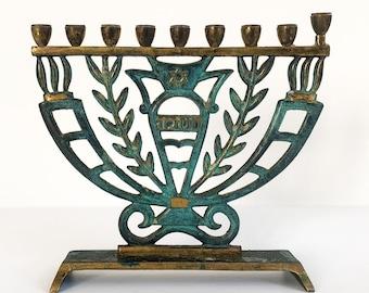 Vintage Hanukkah Menorah Chanukah Menora Israel Brass w/ Green Enamel NCGA Judaica Candle Holder Israel - Religious Candle Holder Hallmarked