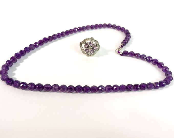 """Vintage Amethyst Necklace - Single Strand Faceted Purple Amethyst 16"""" Long Choker Necklace - Round Gemstones Boho Jewelry - 5 1/2 mm Beads"""