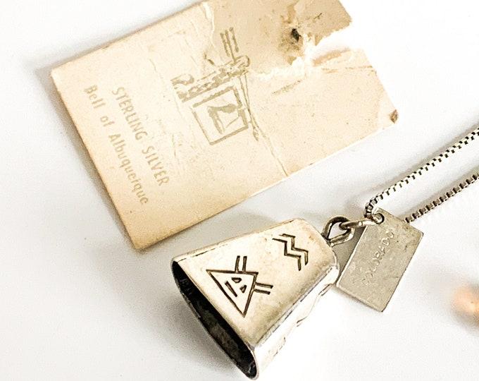 Vintage Sterling Necklace Bell of Albuquerque Pendant Necklace  - Retro 925 Silver 3D Charm Necklace w/ Box Link Chain - Southwest Colorado