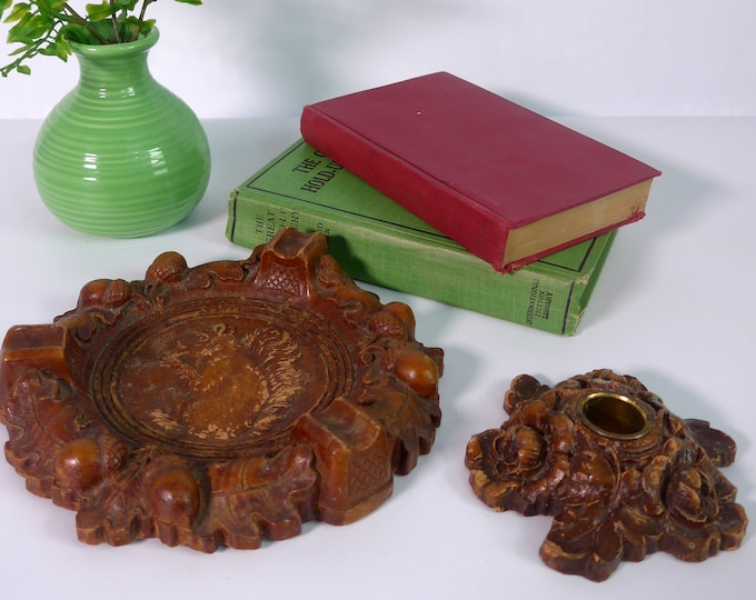 Nuts, Leaves Acorns Squirrel Rust Brown Syroco Ashtray & Leaves Flowers Candlestick Holder Circa 1950s - Vintage Home Decor - Mid Century