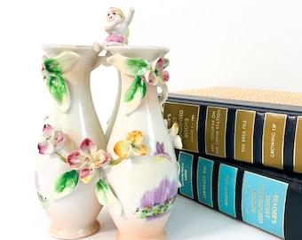 Vintage 3 Bud Vase Mid Century Kitsch Floral Home Decor Ceramic Child / Baby on Top EPP & Co Japan Small Triple Vase