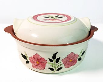 Mid Century Stangl Wild Rose  1.5 Qt Round Covered Casserole -  Vintage Kitchenware Pottery - Retro Serving White w/ Pink Flowers