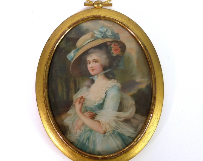 Antique 18th Century Vellum Portrait in Brass Oval Frame - Lovely Woman Lady Portrait Painting in Small Oval Frame - Antique Home Wall Decor