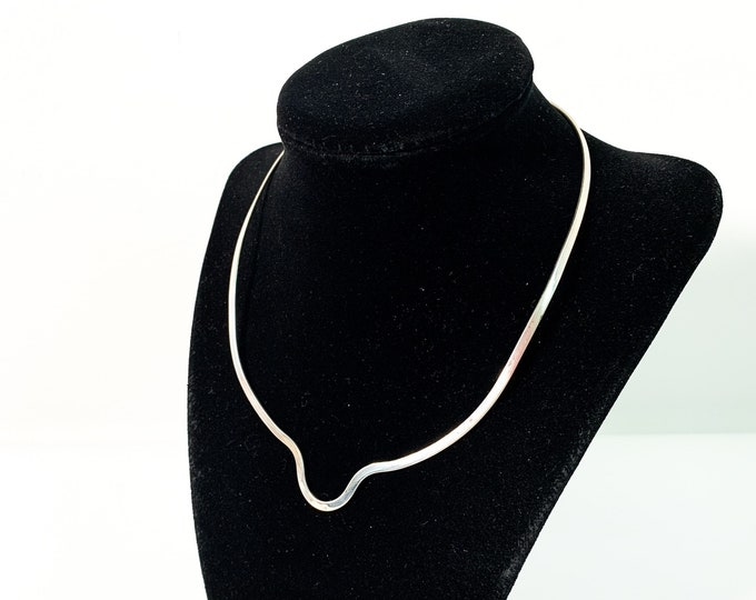 Vintage Sterling Silver Collar Necklace Mexico - 925 Mod Mid century Modernist Thin Silver Choker