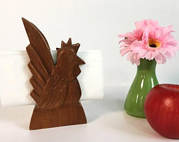 Vintage Wood Napkin Holder Rooster Chicken - Country Farmhouse Decor Cottage Chic Retro Kitchen