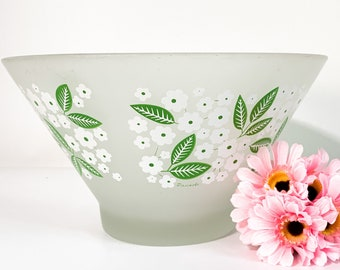 Vintage Large Frosted Glass Bowl Pasinski Green Leaves & White Flowers Punch Salad Serving - Mid century Retro Kitchen Decor Serving 1960-70