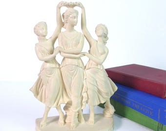 Vintage Amilcare Santini Three Graces Sculpture Italy - Three Maidens or The 3 Graces by A SANTINI Italian - Dancing Woman Statue Home Decor