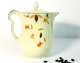 Vintage Hall's Superior Coffee Pot Autumn Leaf - Brown Orange Yellow on Ivory Background - Large Retro Hall Jewel Homemakers w/ Gold Trim