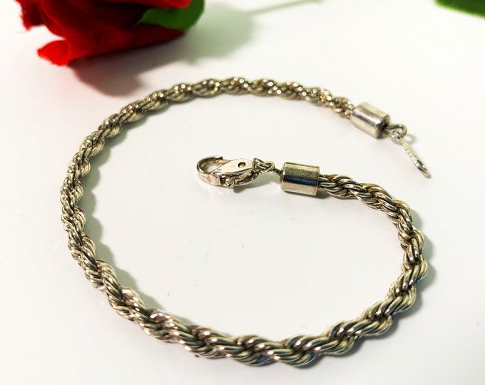 "Vintage Sterling Silver Twisted Rope Chain Bracelet - Hallmarked 8"" Long Retro Jewelry"