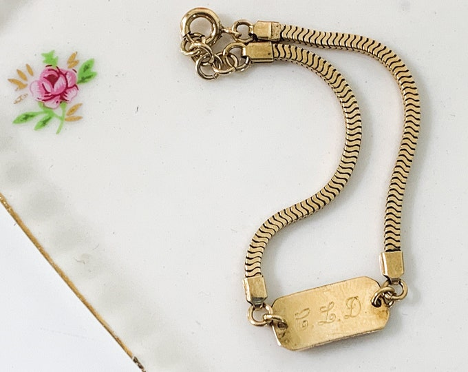 Vintage 1940s Child's 12K Gold Filled Bracelet - Monogrammed ID Hallmarked BOJAR Jewelry - Identification Bracelet - Gift for Child