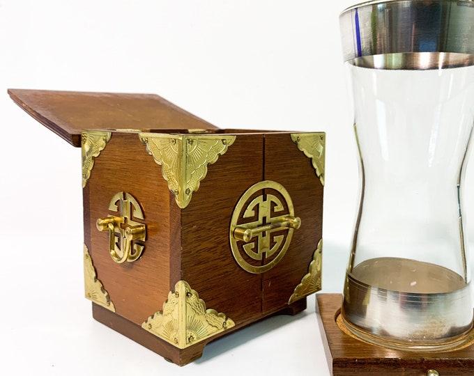 Vintage Wood Coaster Set 4 Wood Coaster in Wood & Brass Chest Asian Motif - Cork Lined Coasters Inside Ornamental Box