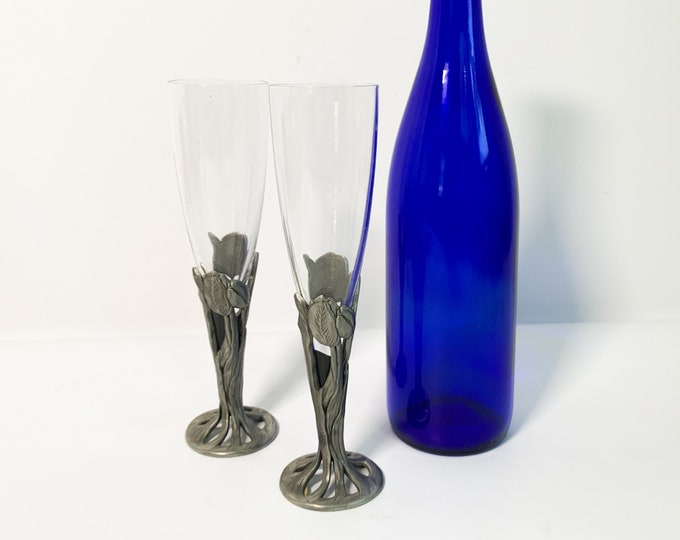 Vintage Pair Seagull Pewter Champagne Flutes Daffodil - 2 Glasses w/ Labels intact - 1990 Signed Pewter Holders Goblet Toasting Hollowware