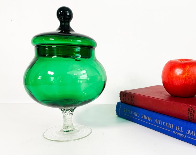 Vintage Emerald Green & Clear Glass Apothecary Jar w/ Lid and Clear Twisted Stem - Blown Glass Mid Century Retro Home Decor Display Giftware