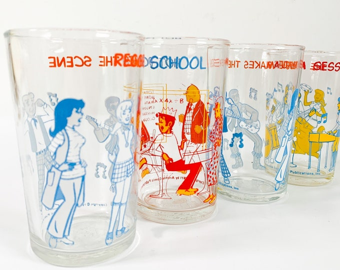 4 Vintage Archie Comics Juice Glasses - Four Retro Drinkware Dated 1971 - Late mid century Cartoon Collectible Drinkware