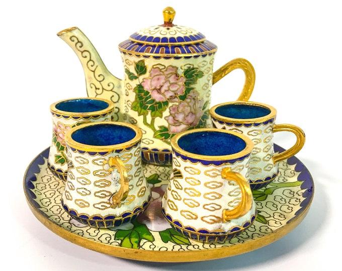Vintage Miniature Chinese Cloisonné Tea Set - Chinese Cloisonné Small Tea Set - Vintage Mini Tea Pot, Cups, Tray