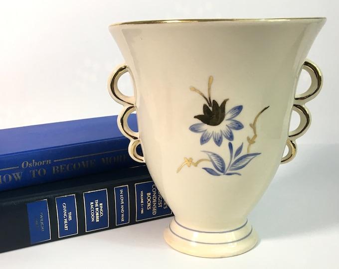 Vintage ARABIA Finland 1940s Vase / Planter Arabia Suomi Finlandia Cream Blue Gold Triple Looped Handles Retro Home Decor Pipe Stamp 1932-49
