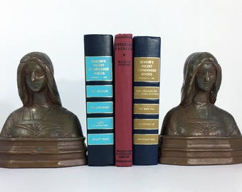 Vintage / Antique Copper Bookends Art Deco Pair of Ladies  -  2 Heavy Copper Metal Women Bust Bookends - Retro Home, Office or Library Decor