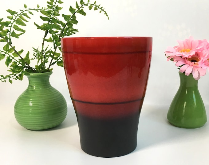 RARE Red Scheurich Vase German Pottery -  Number 608-17 w/ Brown Stripe Ceramic Large Vase Boho Mod Home Decor circa 1970