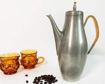 Vintage International Pewter Coffee Pot w/ Wrapped  Handle - Retro Mid century Mod Serving Dining
