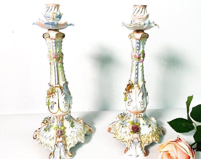 Vintage Pair of Straus & Sons Tall Floral Candle Holders - 2 Porcelain Candlestick Holders Pink Blue Flowers Green Leaves Gold Trim ca 1920s