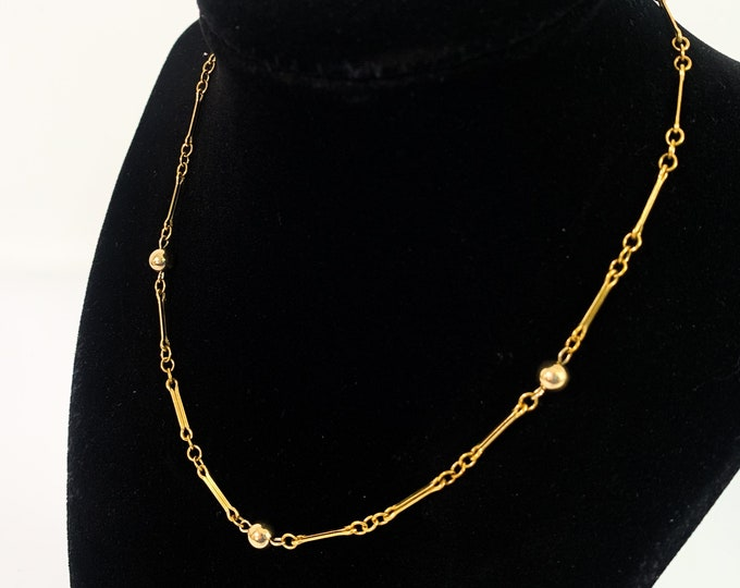 Vintage 12K Gold Filled Bar Chain w/ Beads Choker Necklace - Link & Ball Necklace  - Retro Mid century Classic Accessory Gift for Girl Woman