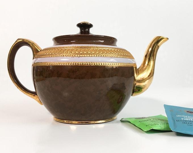Vintage Sadler Brown White & Gold Teapot w/ Lid 2305 - Retro  Brown Tea Pot Gold Spout, Handle, Knob - England Pottery Kitchen Decor Serving