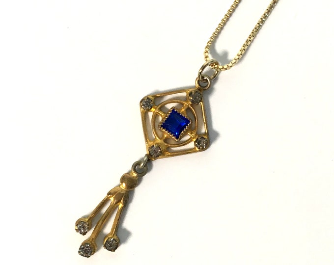 Edwardian Gold Tone Blue & Clear Paste Dangling Pendant Necklace on 925 Vermeil Box Link Chain - Retro Lavalier - Victorian Vintage Jewelry