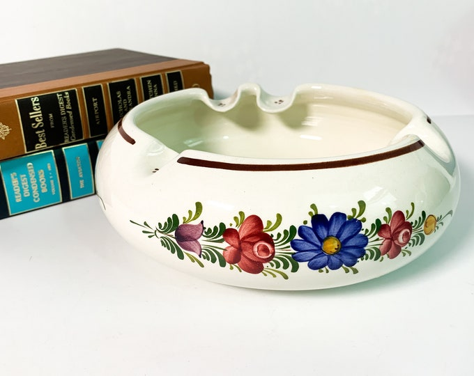 Vintage Wechsler Tirolkeramik Cigar Ashtray - Retro Pottery Floral Hand painted Home Decor