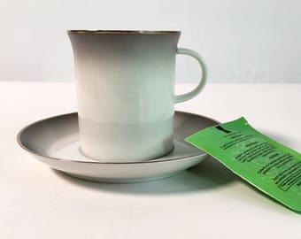Vintage Rosenthal Evensong Flat Cup & Saucer - White w/ Grey Edge / Trim Circa 1961-1981 - Retro China Rosenthal Continental Germany #4044