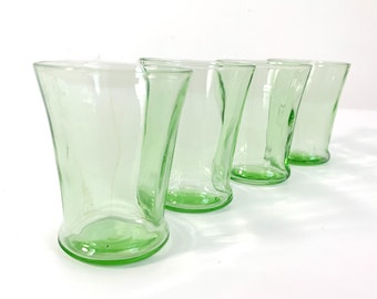4 Vintage Cordial / Shot / Small Juice Glasses - Small Green Glasses - Set 4 DEPRESSION ERA Glass - Retro Kitchen Serving Collectible