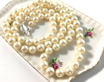 "Vintage Pearl Necklace w/ Sterling Silver Clasp - 21 1/2"" Long Necklace - 6 mm Pearl Single Strand Matinee Length Hand Knotted Classic"
