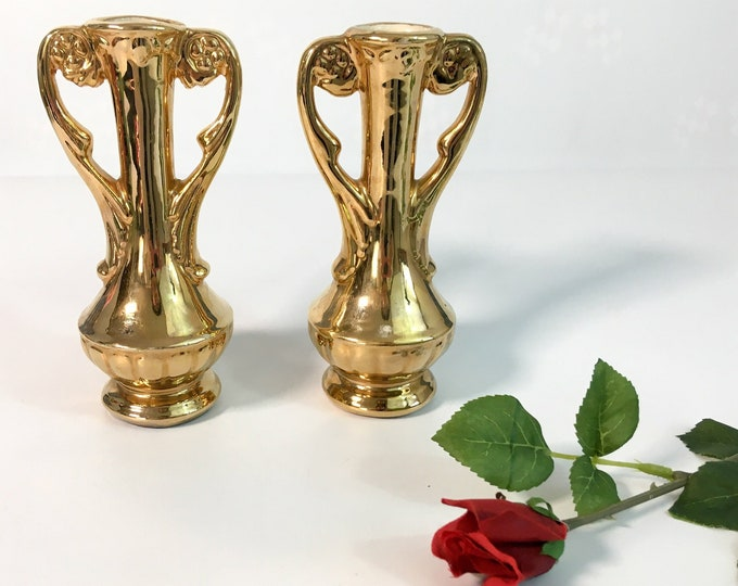 Vintage Chic Zanesville Pottery Gold Bud Vases - Pair Retro Home Decor - 2 Small Vases w/ White Interior