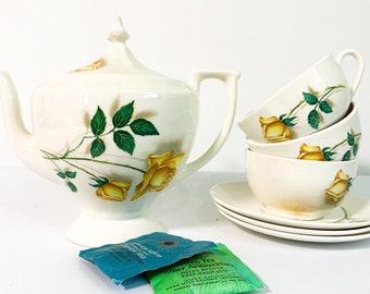 Vintage TEA SERVICE Ceramic Teapot & 3 Cups w/ Saucers - Yellow Rose Tea Pot - 8 pc Set Retro Kitchenware Serving Entertaining Remembrance