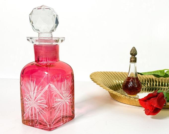 Vintage Etched Glass Dark Pink Bottle w/ Clear Faceted Stopper - Retro Bedroom Bathroom Kitchen Decor Perfume Bottle