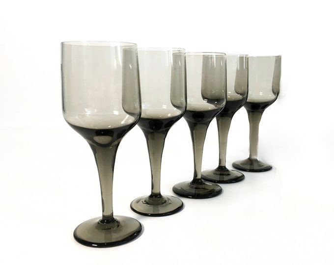 5 Vintage Smoky Grey Cordial Glasses  - Set of 5 Retro Mod Wine / Gray Cocktail Cordials Hand Blown Glass - Mid Century Barware