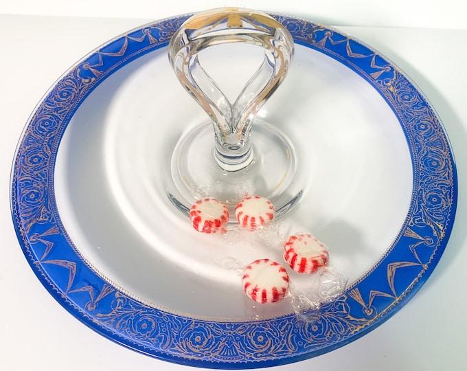 Vintage Center Handle Glass Tidbit Tray w/ Cobalt Blue & Gold Trim - Retro Depression Glass Snack Serving Dish Circa 1940s - Ribbon Flower