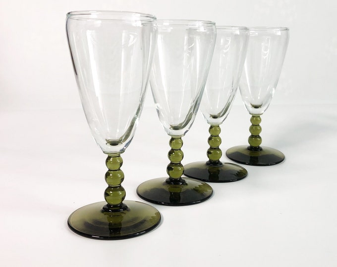 Vintage Libbey Knob Hill Olive Green Stem Juice Glasses - Beaded Stem Cordials - Set of 4 Bubble Glasses Mid Century Modern Danish Mod