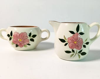Mid Century Stangl Wild Rose Open Sugar & Creamer - Sugar Bowl w/ No Lid -  Vintage Kitchenware Pottery Retro Serving White w/ Pink Flowers