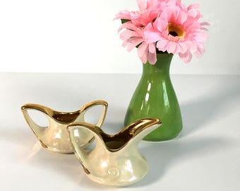 Sugar and Creamer Pearl China Comany - Vintage Individual Sugar & Creamer Set - Pearlized Finish w/ Gold - Pearl China Co
