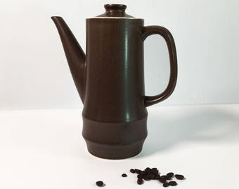 Vintage Coffee Pot Brown Stoneware - Retro Tall Dark Brown China Pot w/ Handle Ivory Interior - Mid century Mod Modern Coffee Pot with Lid