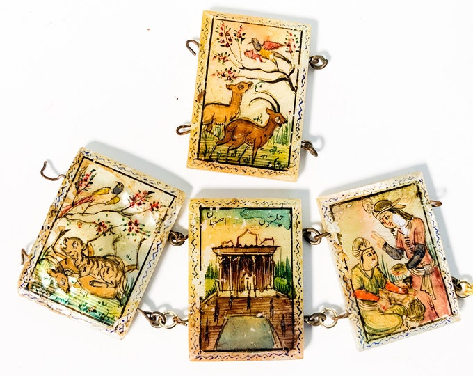 Antique Mother-of-Pearl Panels from Panel Bracelet - 4 Storyteller Bracelet Panels For Jewelry Making - Vintage Hand painted Tiles Persian