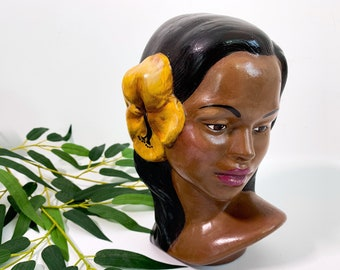Vintage Lady Head Bust w/ Yellow Flower in Hair - Mid Century Ceramic Statue Tropical Exotic Home Decor Dated 1974