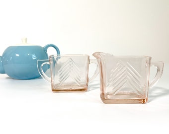 Chevron Pink Glass Sugar and Creamer Set - Vintage Art Deco Pink Depression Glass Chevron Pitcher and Bowl Set by Hazel Atlas