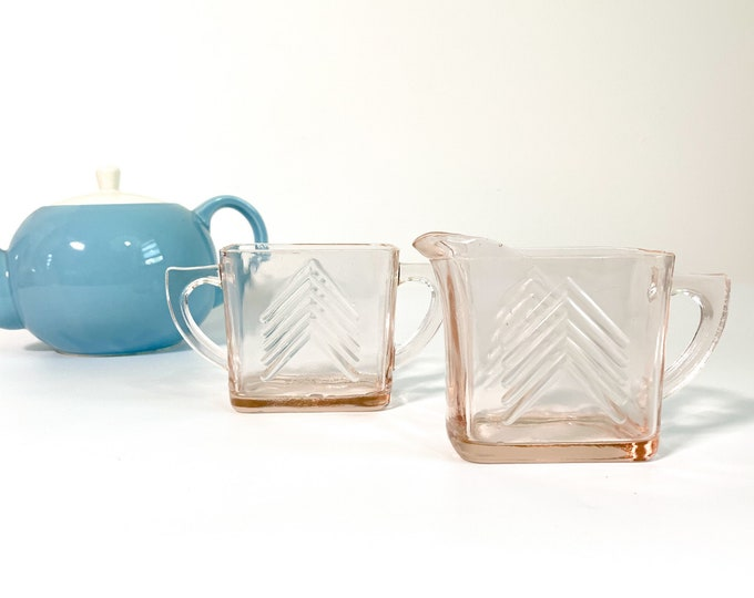 Chevron Pink Glass Sugar and Creamer Set - Vintage Art Deco Pink Depression Glass Chevron Pitcher and Bowl Set by Hazel Atlas