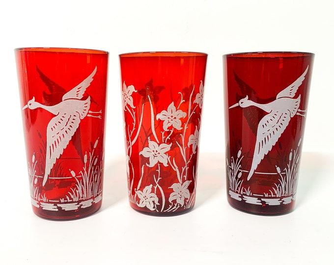 Vintage Set 3 Red Depression Glasses w/ White Designs Flower and Bird Crane Heron - Three Retro Tumblers